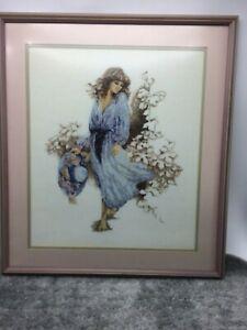 Vintage Beautiful Woman Needlepoint Classy Chic Elegant Framed