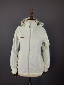 Ladies Mammut Swiss Design Dry Tech White Full Zip Hooded Nylon Jacket Size M