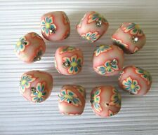 10 Polymer clay cube beads, peach floral