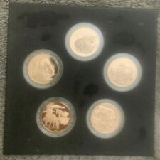Franklin Mint 5 Bronze Big Game Medals East Africa Coins Zebra Buffalo Warthog