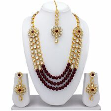 Indian Bollywood Fashion Wedding Gold Plated 3 Layer Pearl Necklace Earrings Set