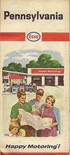 1965 ESSO HUMBLE OIL Road Map PENNSYLVANIA Pittsburgh Philadelphia Scranton W965