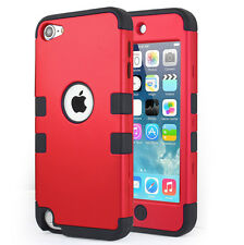 iPod Touch 5th & 6th Gen Case - Hybrid Rugged High Impact Armor Case Cover Red