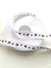 Cute Dog Paw Print Ribbon 15mm wide - per metre - brown paw print