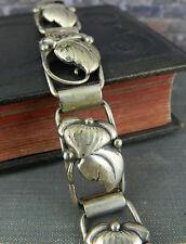 Vintage Scandinavian Signed JT 830S Silver Flower Link Bracelet