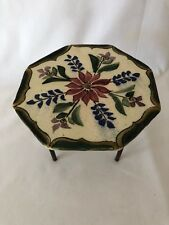 Vintage Collectible Mini Tile Table with Metal Legs Decor