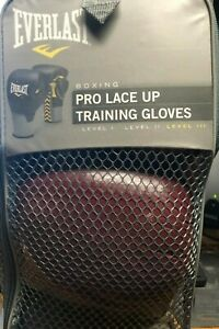 EVERLAST BOXING PRO LACE UP TRAINING GLOVES - PRE-OWNED - NEVER USED