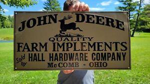 VINTAGE OLD JOHN DEERE TRACTOR FARM IMPLEMENTS FARMING EMBOSSED METAL SIGN