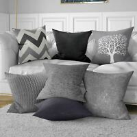 """Grey Cushion Cover Charcoal Black Silver 17"""" / 18"""" 43cm / 45cm Pillow Covers"""
