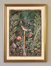 Pompeya italia rosas pájaro Fresko facsímil 2 en papel de lino en el marco de oro