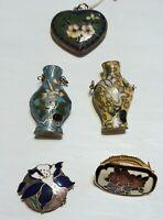 VINTAGE Jewelry Brass ASIAN ENAMEL CLOISONNE  NECKLACE PENDANT Lot of 5