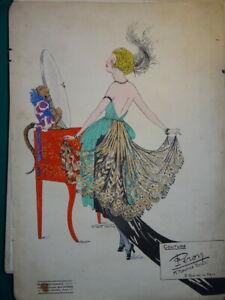 BELLE LITHO ART DECO PUBLICITE COUTURE MODE SINGE ANNEES FOLLES PARIS FEMME 1940