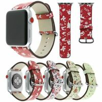 40/44mm iWatch Leather Band Xmas Pattern Strap for Apple Watch Series 6 5 4 3 SE
