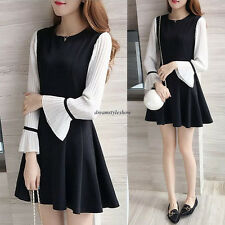 Korean Women A Line Empire Waist Slim Loose Party Flare Sleeve Shift Tunic Dress