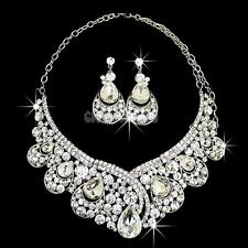 Bling Wedding Bridal Party Prom Jewelry Crystal Rhinestone Necklace Earring Set