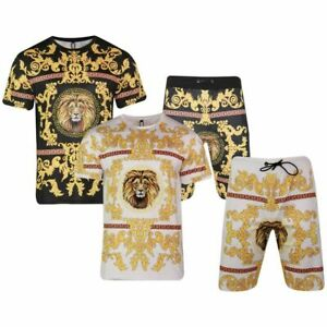 Men Polyester Summer Printed T-Shirt+ Short Set Full Suit New Fashion Lion Print