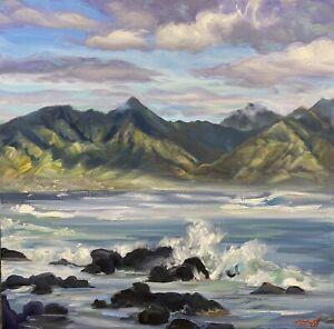 """Abbott Oil On Panel 20""""x20"""" Windward Edge Of koo'lau Cauldron, Kaneohe Bay Kauai"""