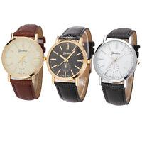 Luxury Geneva Mens Leather Band Waterproof Analog Quartz  WristWatch Watches