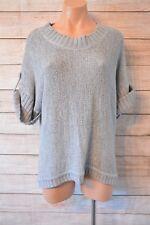 KATIES jumper Sz large 12 14 grey blue short-sleeved Knit