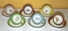 XXe Set 6 Tasses & Soucoupes Décor de Fleurs Véritable Porcelaine LF Limoges Art