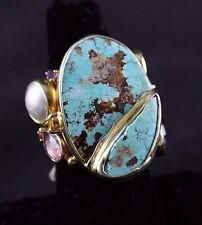 Oxidized Sterling Silver Ring Persian Turquoise Gemstones Handcrafted Size 6.5