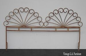 Vintage French Country Double Peacock Style Metal King Headboard Bronze Colored