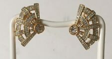 Vtg Swarovski Swan Signed Clip Art Deco style Fan Earrings Elegant Rhinestones