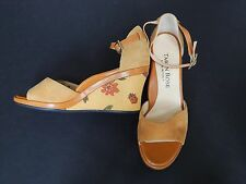 New Taryn Rose Wedge Sandals Suede Women's Yellow Shoes Size 36 M
