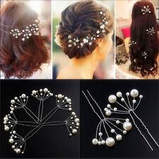 2pcs Charm Wedding Bridal Bridesmaid Pearls Hair Pins Clips Comb Headband