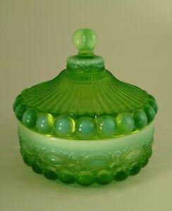 Vintage Eye Winker Pattern Mosser Glass Green Opalescent Candy Dish w/ Lid