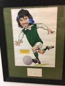 Hand signed George Best card with Hibs/Hibernian print display