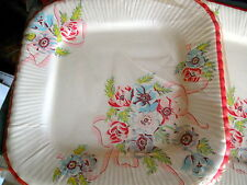 6 Vintage pink & red Flower Plates*6 per pack* 8 inch SQUARE by REED