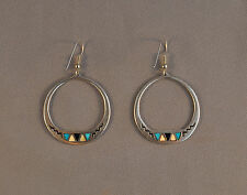 """VINTAGE ZUNI SILVER LOOP EARRINGS - TURQUOISE, SHELL, ONYX INLAY - 2 1/4"""" LONG"""