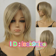Fashion Short blonde mix women Wig Daily Natural Hair wigs + Free Wig cap