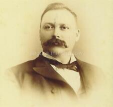 CABINET CARD PHOTO: Distinguished GENTLEMAN w PROMINENT Handlebar MUSTACHE