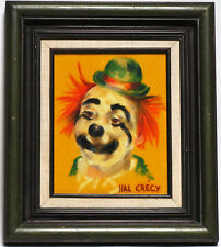 SMILING CLOWN PORTRAIT ORIGINAL PASTEL DRAWING PAINTING BY THE FAMOUS HAL CRECY