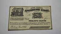 $.20 1863 Roxbury Massachusetts Obsolete Currency Bank Note Bill Apothecary AU+!