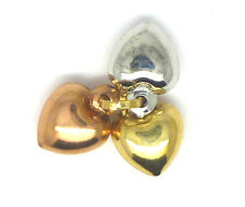 9 carati tre colori oro Tre Cuori Charm 2769