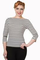 Women's Stripe Retro Vintage Rockabilly Boat Neck Modern Love Top Banned Apparel