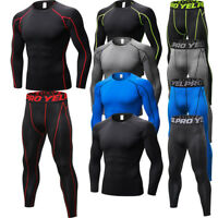 Men's Compression Pants Tops Running Jogging Tights Athletic Base Layers Wicking