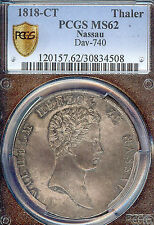 German States Nassau 1818 CT Taler Coin Thaler PCGS MS 62 F.Stg Deutschland RARE