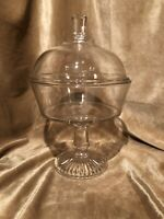 Antique EAPG clear glass vintage footed compote with lid