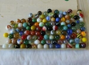 LOT 115 Vintage Glass Marbles Agate Ribbons Swirls Cat's Eyes Colors Shooters NR