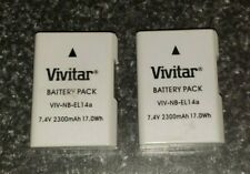 Set of 2 Vivitar EN-EL14 / EN-EL14a Ultra High Capacity 2300mAH Li-ion Batteries