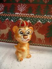 Vintage Ceramic Lion Sewing Caddy Pin Cushion Scissors Tape Measure Kitsch Japan