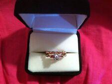 14K Yellow gold ring diamond w/ band BEAUTIFUL size 7 3.5 grams 1/10 Carat pink