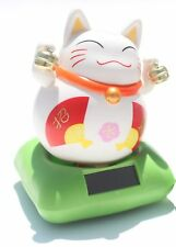 Japanese Cute Lucky cat of good fortunet with red bib ~ Solar Toy