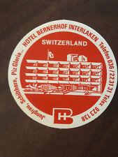 Vintage Hotel Bernerhof Interlaken Switzerland Luggage Sticker
