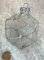 Christmas Ornament GLASS POLYGON MODERN Silver Glitter Outlining CLEAR 3.5""