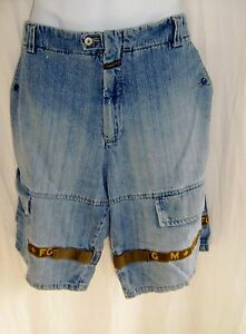 Marithe Francois Girbaud Size 42  Denim Shorts w/Green & Gold Shuttletape